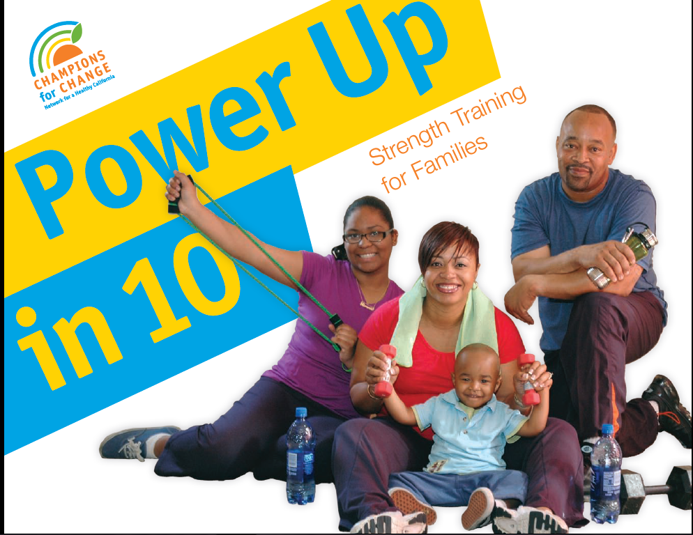 Power Up in 10 logo with photo of family working out