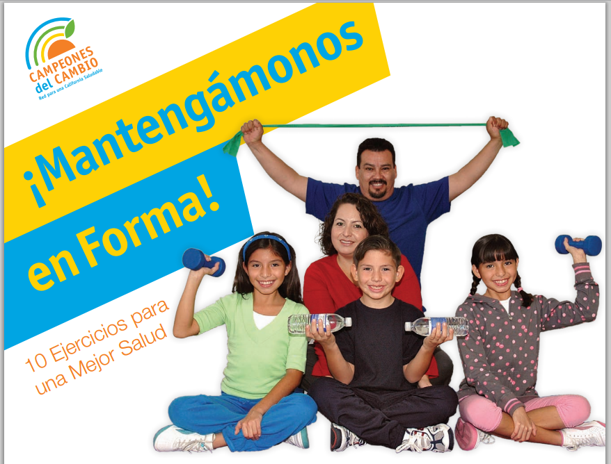 Power Up in 10 logo in Spanish with photo of family working out