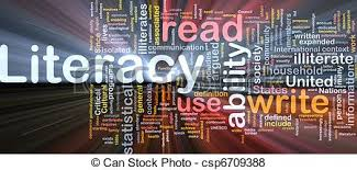 Literacy, read, use ability, write collage